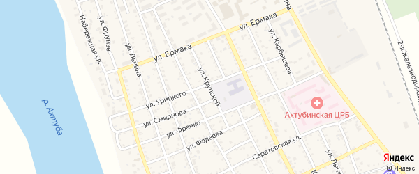 Улица Крупской на карте Ахтубинска с номерами домов