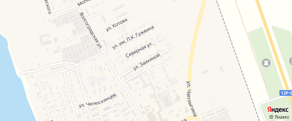 Улица В.Заикиной на карте Ахтубинска с номерами домов