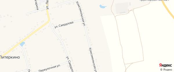 Комсомольская улица на карте села Красные Четаи Чувашии с номерами домов