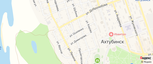 Улица Осипенко на карте Ахтубинска с номерами домов