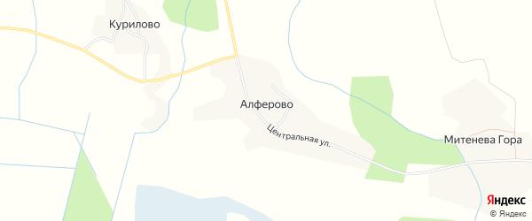 Карта деревни Алферово в Вологодской области с улицами и номерами домов