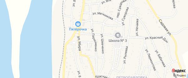 Улица Пархоменко на карте Ахтубинска с номерами домов
