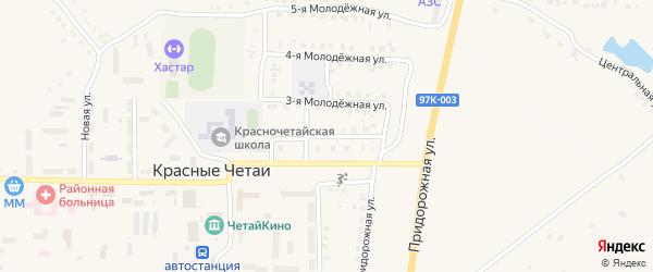 Молодежная 2-я улица на карте села Красные Четаи Чувашии с номерами домов