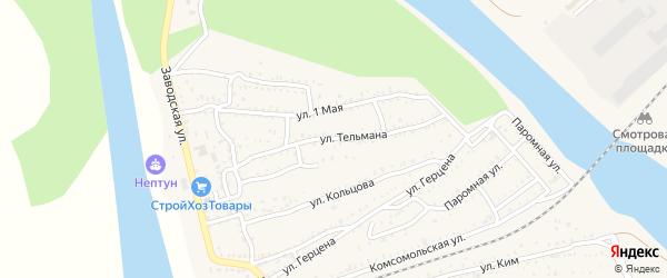 Улица Тельмана на карте Ахтубинска с номерами домов