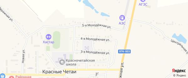 Молодежная 4-я улица на карте села Красные Четаи Чувашии с номерами домов
