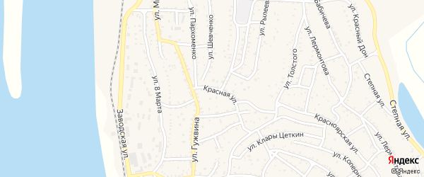 Красная улица на карте Ахтубинска с номерами домов