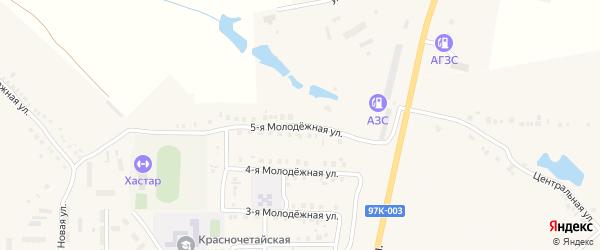 Молодежная 5-я улица на карте села Красные Четаи Чувашии с номерами домов