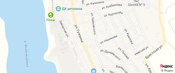 Переулок Чайковского на карте Ахтубинска с номерами домов