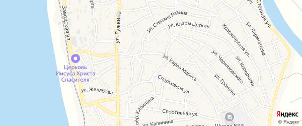 Улица Тургенева на карте Ахтубинска с номерами домов