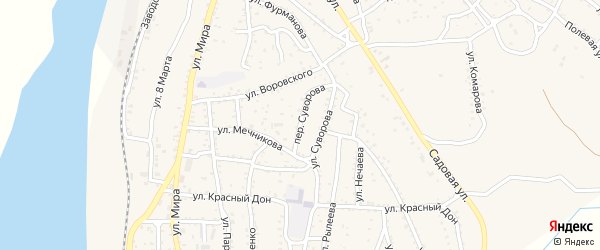 Переулок Суворова на карте Ахтубинска с номерами домов