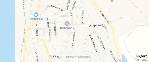 Улица Рылеева на карте Ахтубинска с номерами домов