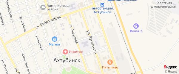 Переулок Чаплыгина на карте Ахтубинска с номерами домов
