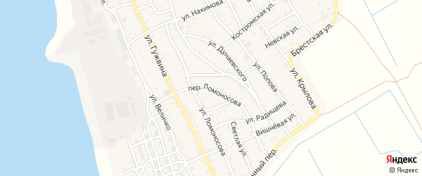 Переулок Ломоносова на карте Ахтубинска с номерами домов
