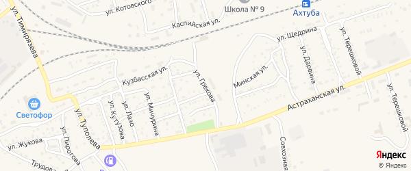 Улица Грекова на карте Ахтубинска с номерами домов