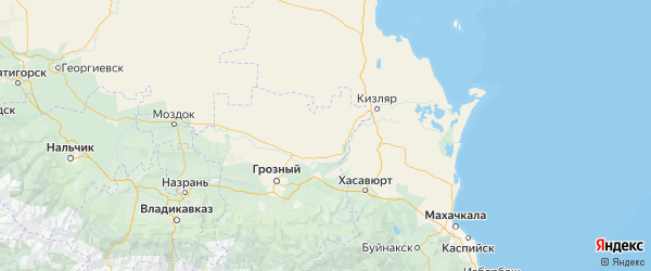 Карта Шелковской района Республики Чечни с городами и населенными пунктами