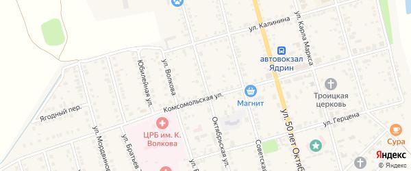 Октябрьская улица на карте Ядрина с номерами домов