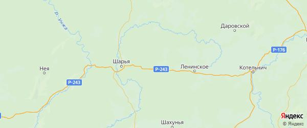 Карта Поназыревского района Костромской области с городами и населенными пунктами
