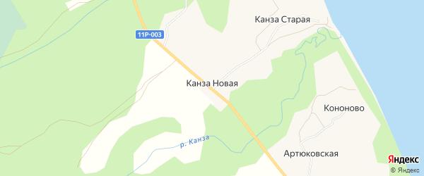 Карта Канзы Новой деревни в Архангельской области с улицами и номерами домов
