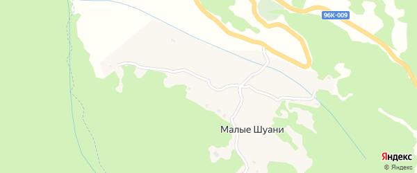 Безымянная улица на карте села Малых Шуани с номерами домов