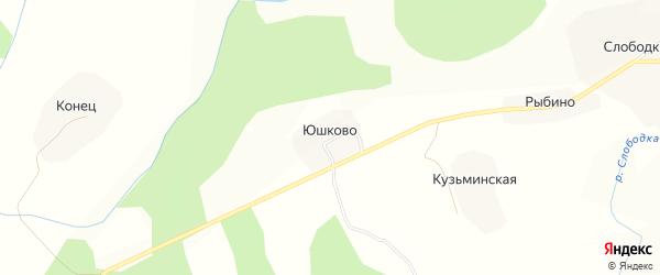 Карта деревни Юшково (Енагское с/п) в Вологодской области с улицами и номерами домов