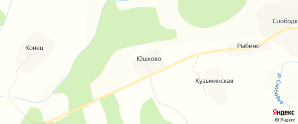 Карта деревни Юшково (Кичменгское с/п) в Вологодской области с улицами и номерами домов