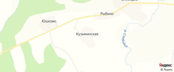 Карта Кузьминской деревни в Вологодской области с улицами и номерами домов