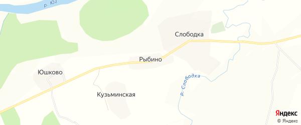 Карта деревни Рыбино в Вологодской области с улицами и номерами домов