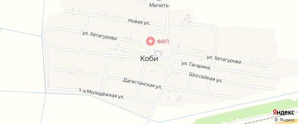 Улица Хетагурова на карте села Коби Чечни с номерами домов