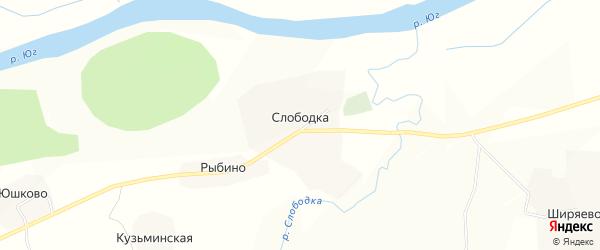 Карта села Слободки в Вологодской области с улицами и номерами домов