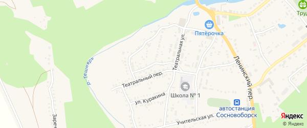 Песчаная улица на карте поселка Сосновоборска Пензенской области с номерами домов