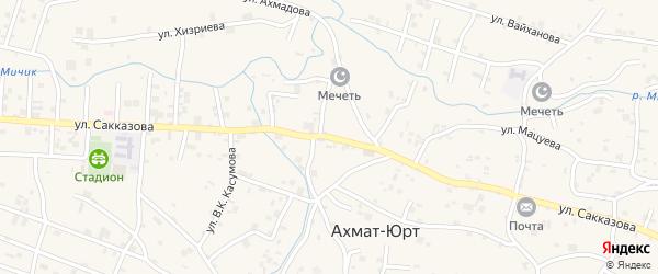 Улица Ю.В.Сакказова на карте села Центарой Чечни с номерами домов