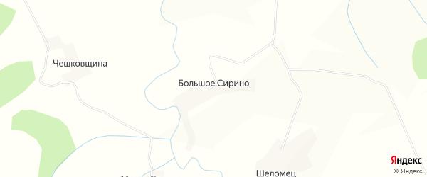 Карта деревни Большого Сирино в Вологодской области с улицами и номерами домов