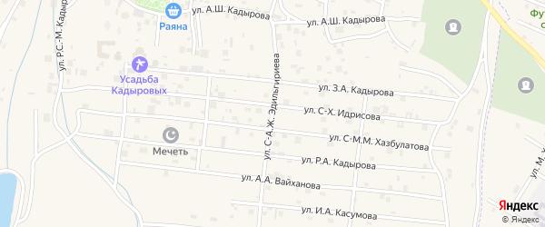 Улица С.А.Эдильгириева на карте села Центарой Чечни с номерами домов