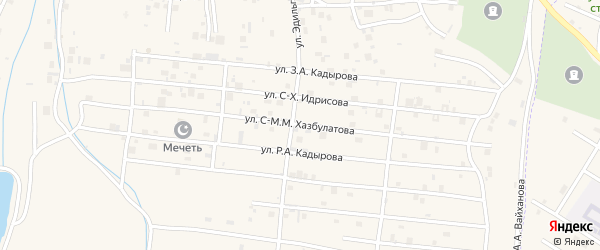 Улица С-М.М.Хазбулатова на карте села Центарой Чечни с номерами домов