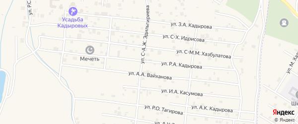 Улица Р.А.Кадырова на карте села Центарой Чечни с номерами домов