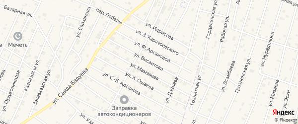 Улица Висаитова на карте села Верхний-Нойбер с номерами домов