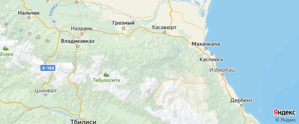 Карта Ботлихского района Республики Дагестана с городами и населенными пунктами