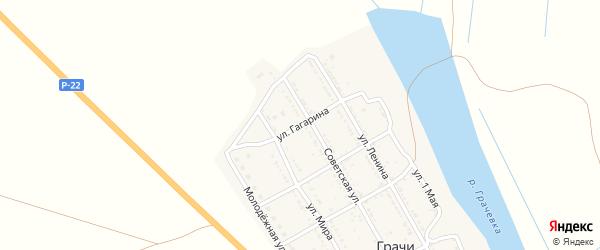 Улица Гагарина на карте села Грачи Астраханской области с номерами домов