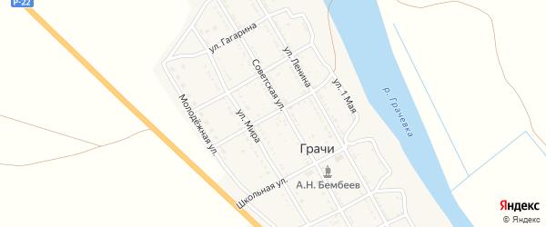 Улица М.Горького на карте села Грачи Астраханской области с номерами домов