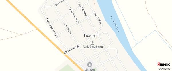 Советская улица на карте села Грачи Астраханской области с номерами домов