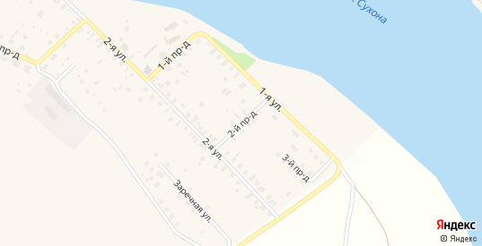 2-й проезд в поселке Дымково в Великом Устюге с номерами домов на карте. Спутник и схема онлайн