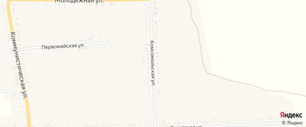 Комсомольская улица на карте села Дубенки Мордовии с номерами домов