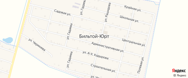 Улица Махтиева на карте села Бильтой-юрт Чечни с номерами домов