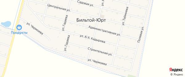 Улица А-Х.Кадырова на карте села Бильтой-юрт Чечни с номерами домов
