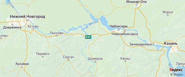 Карта Ядринского района Республики Чувашии с городами и населенными пунктами