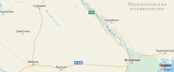 Карта Юстинского района Республики Калмыкии с городами и населенными пунктами