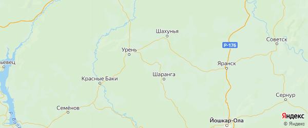 Карта Тонкинского района Нижегородской области с городами и населенными пунктами
