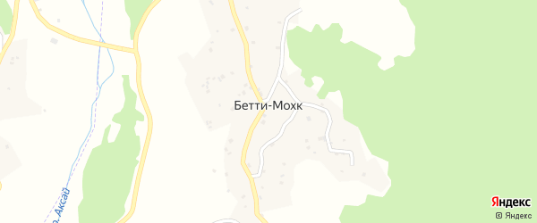 Улица А.А.Кадырова на карте села Бетти-Мохк Чечни с номерами домов