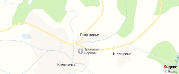 Карта деревни Подгривье в Вологодской области с улицами и номерами домов