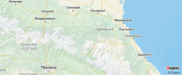 Карта Ахвахского района Республики Дагестана с городами и населенными пунктами
